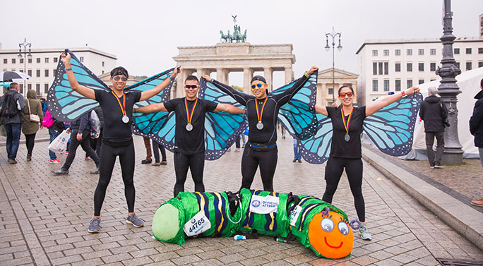 Fastest marathon in a four person costume
