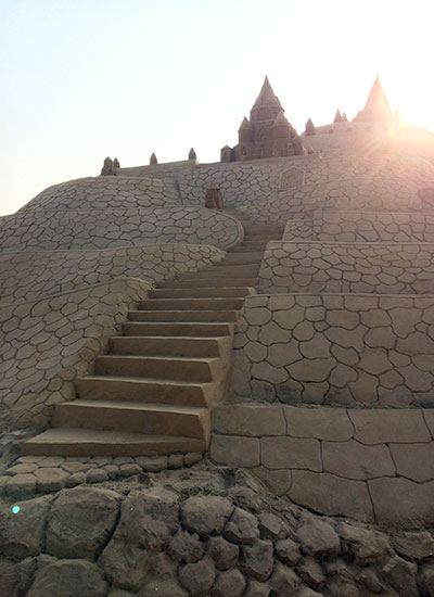 Steps going up the tallest sandcastle