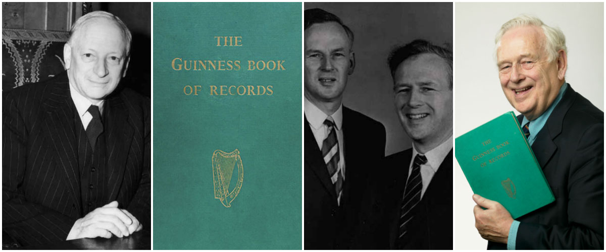 From left to right: Sir Hugh Beaver, the first Guinness World Records book, Ross and Norris McWhirter, Norris McWhirter